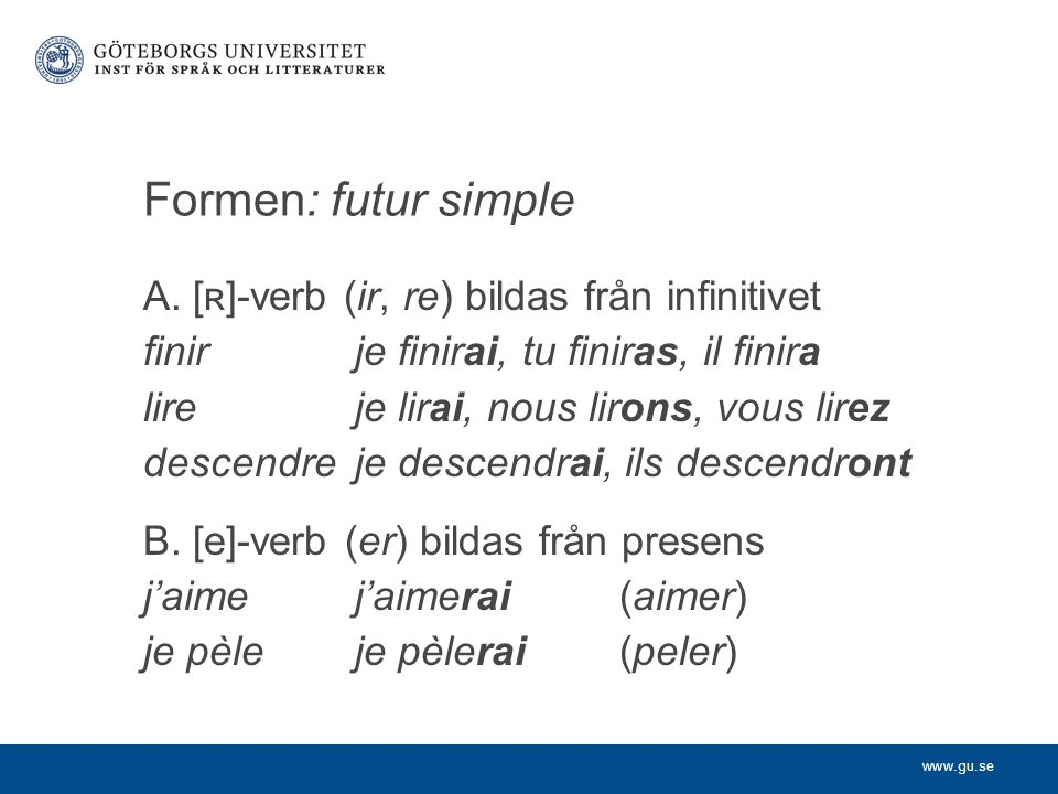 Formen: futur simple A. [ʀ]-verb (ir, re) bildas från infinitivet